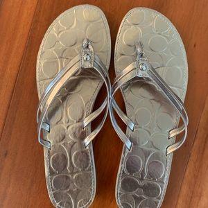 Coach Silver Flip Flop Sandals